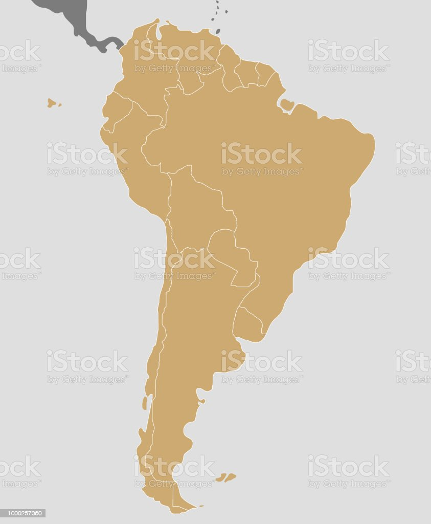 Political Blank South America Map Vector Illustration