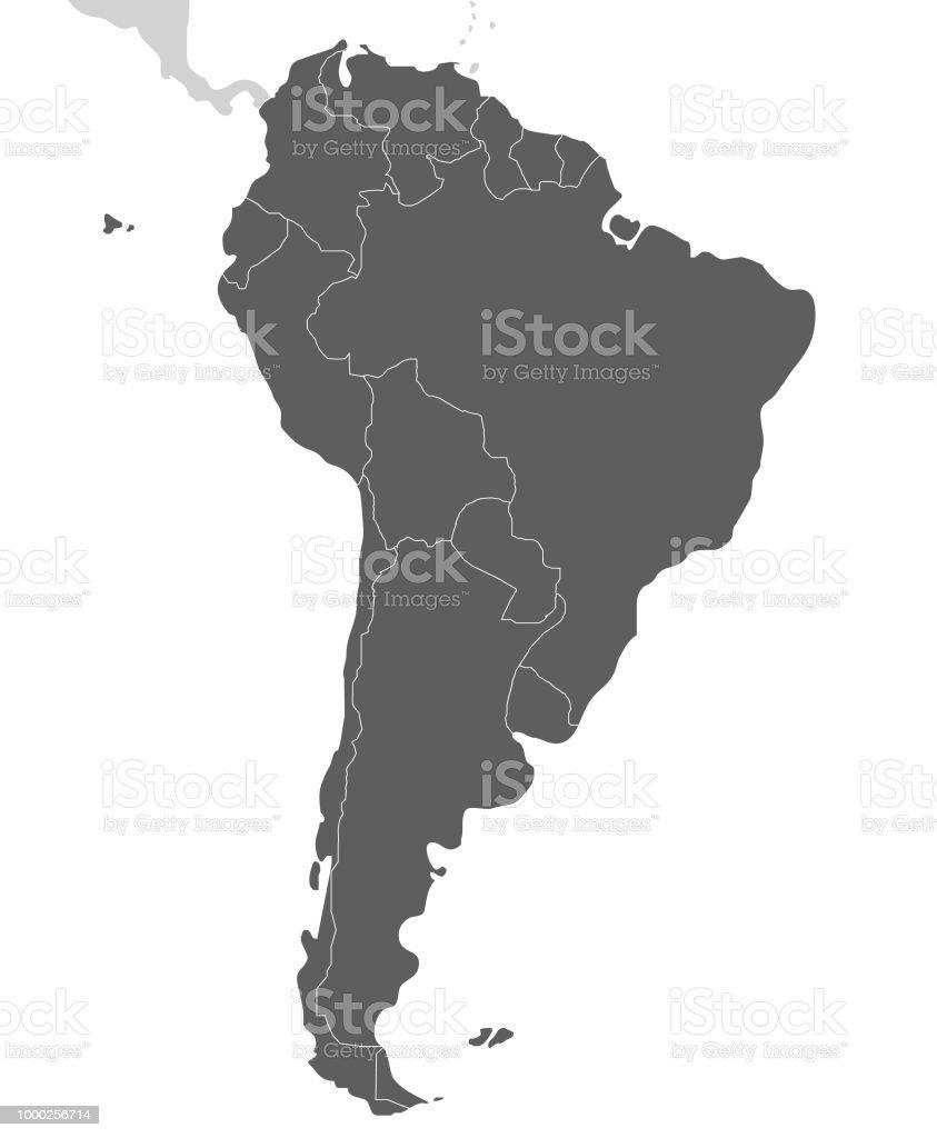 Politische leere Südamerika Karte Vektor-Illustration isoliert auf weißem Hintergrund. Bearbeitet werden und eindeutig beschriftete Schichten. – Vektorgrafik