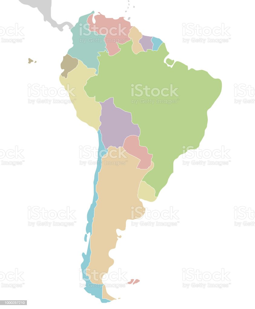 Political Blank South America Map Vector Illustration Isolated On