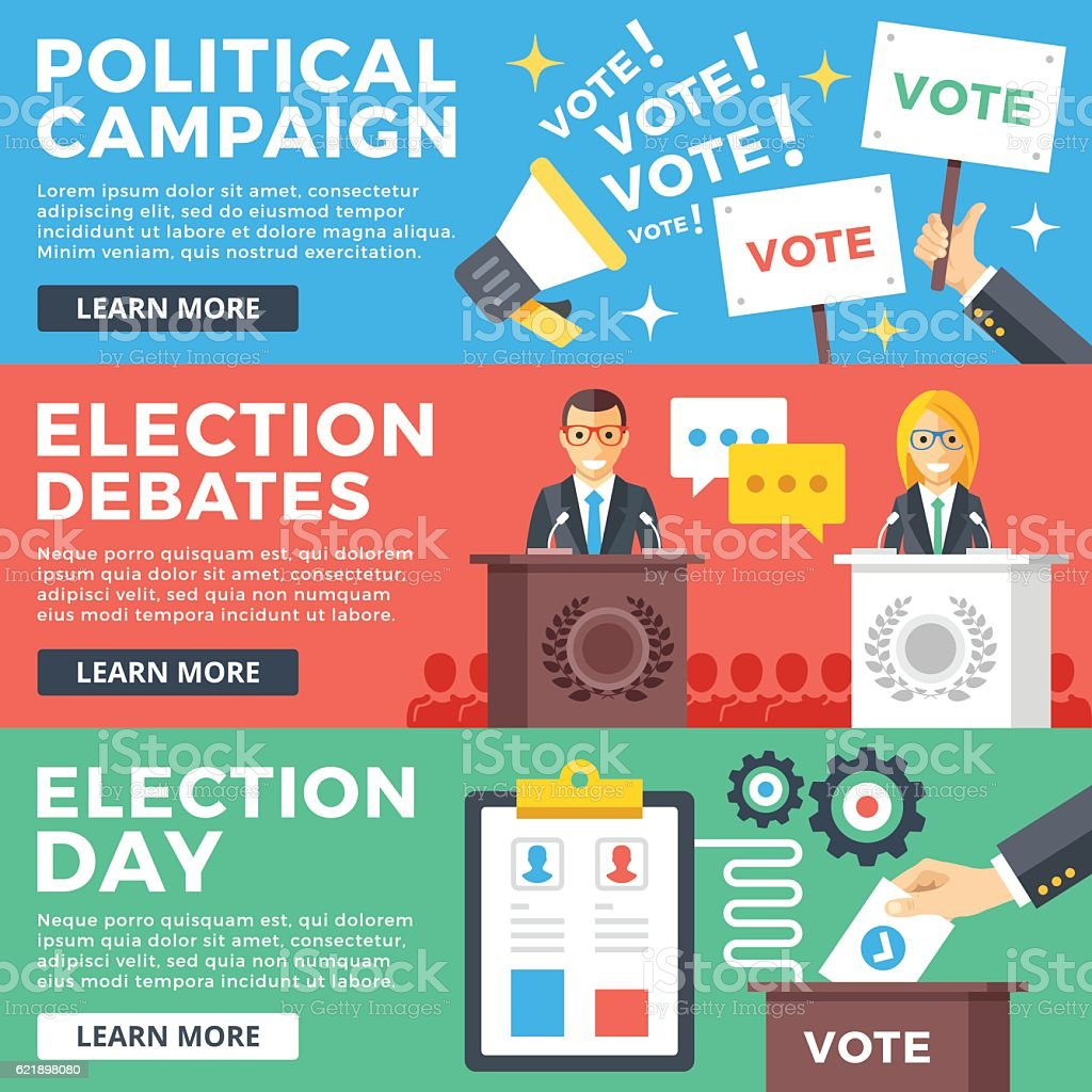 Political campaign, election debates, election day flat illustration concepts set vector art illustration