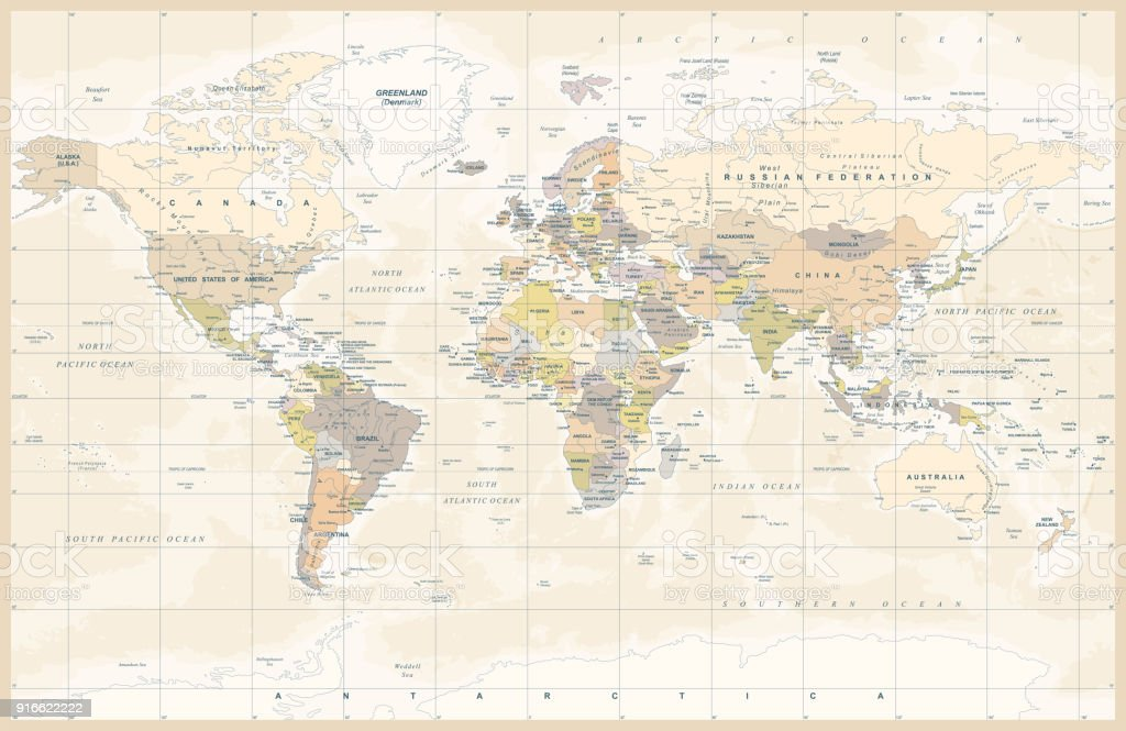 Political Colored Vintage World Map Vector vector art illustration