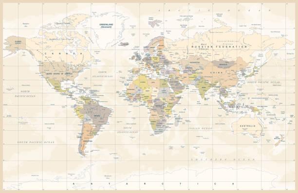 ilustraciones, imágenes clip art, dibujos animados e iconos de stock de mundo vintage color político mapa vector - mapas vintage