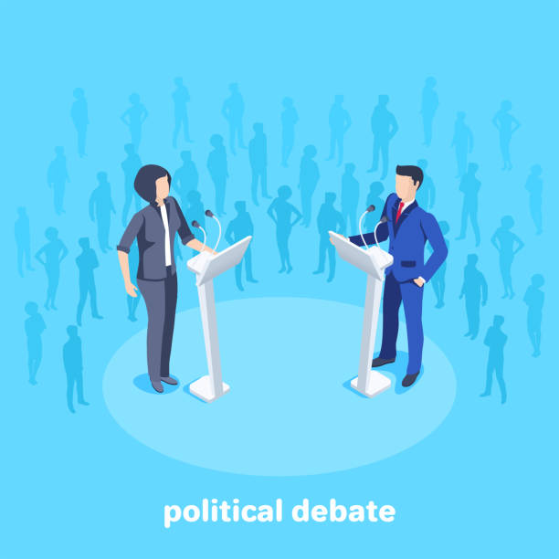 political debate 2 Isometric vector image on a blue background, woman in business suits stand in front of a microphone on the stage among the spectators, political debates debate stock illustrations