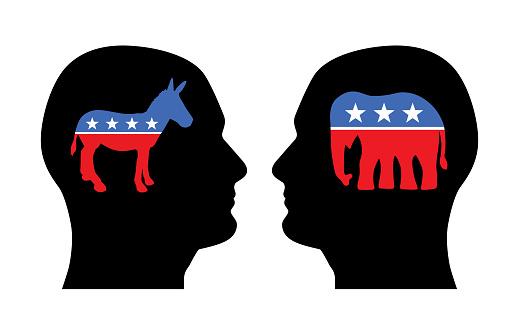 Political Donkey Elephant  Heads