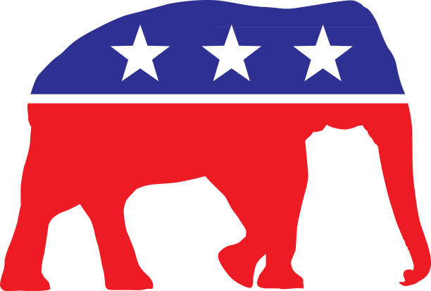 Political Election Elephant Vector illustration of a red white and blue elephant with three white stars on it. elephant stock illustrations
