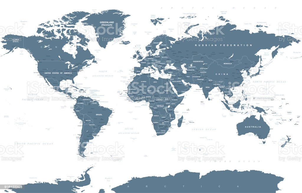 Political Grayscale World Map Vector Stock Vector Art More Images