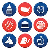 Political icons and symbols collection. Nine circular American politics icons are available showing the United States Capitol dome, Supreme Court, continental United States, power fist, peace hand sign, vote button, donkey, elephant and thumbs up symbols. EPS 10 file. Transparency effects used on highlight elements.