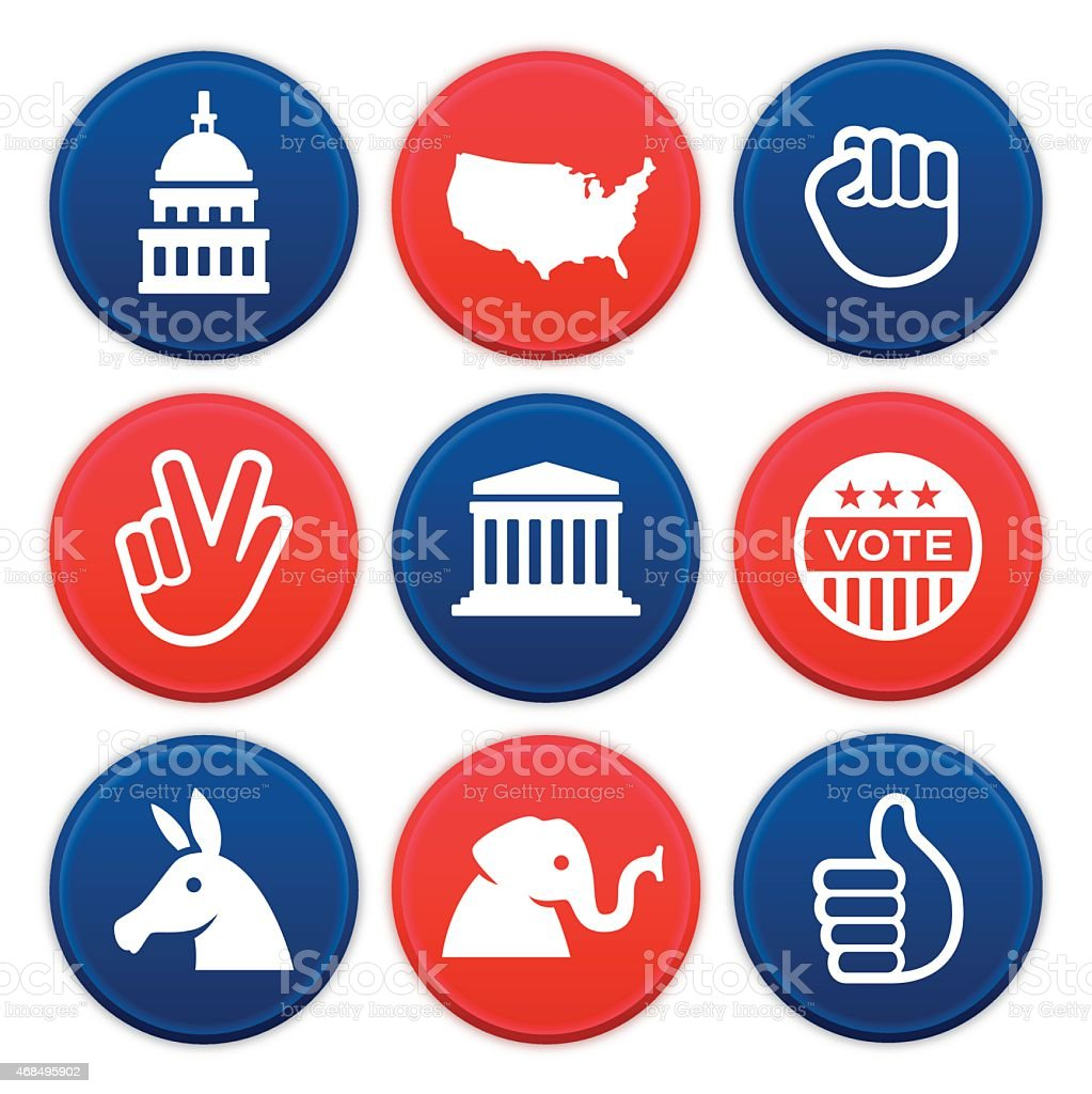 Political Icons and Symbols vector art illustration