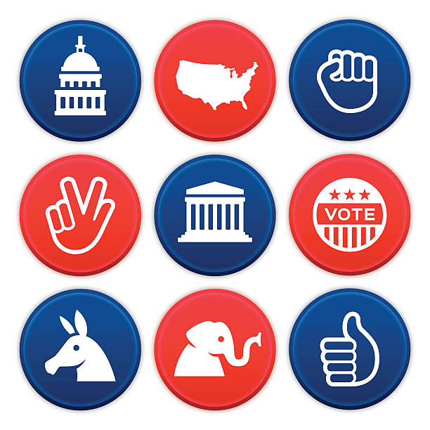 Political Icons and Symbols Political icons and symbols collection. Nine circular American politics icons are available showing the United States Capitol dome, Supreme Court, continental United States, power fist, peace hand sign, vote button, donkey, elephant and thumbs up symbols. EPS 10 file. Transparency effects used on highlight elements. supreme court stock illustrations