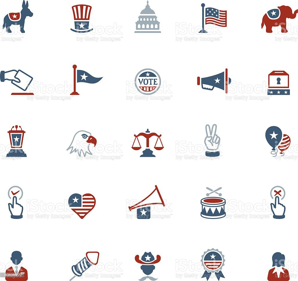 USA Political Icons vector art illustration