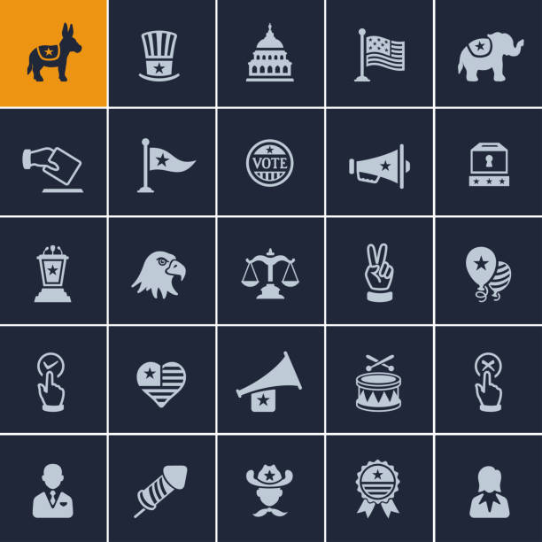 USA Political Icons USA Political Icons party conference stock illustrations
