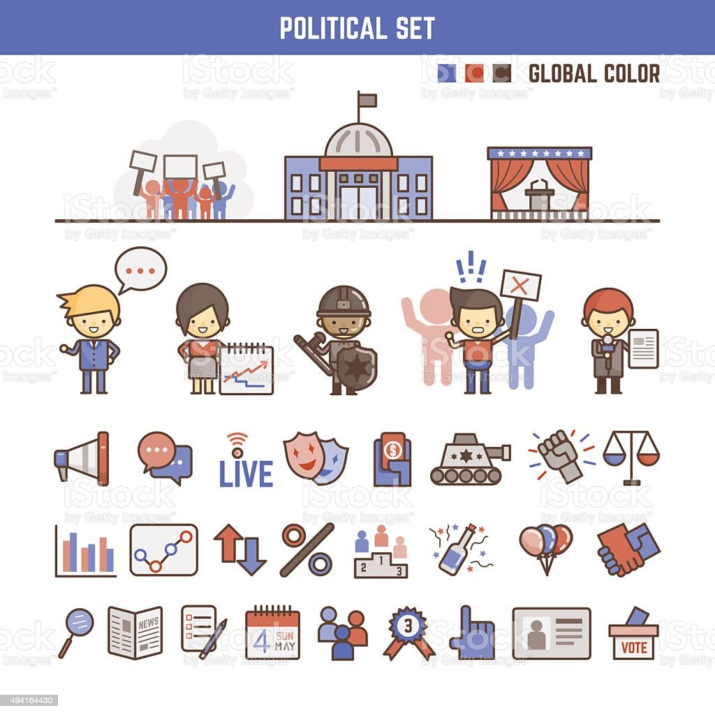political infographic elements for kids vector art illustration