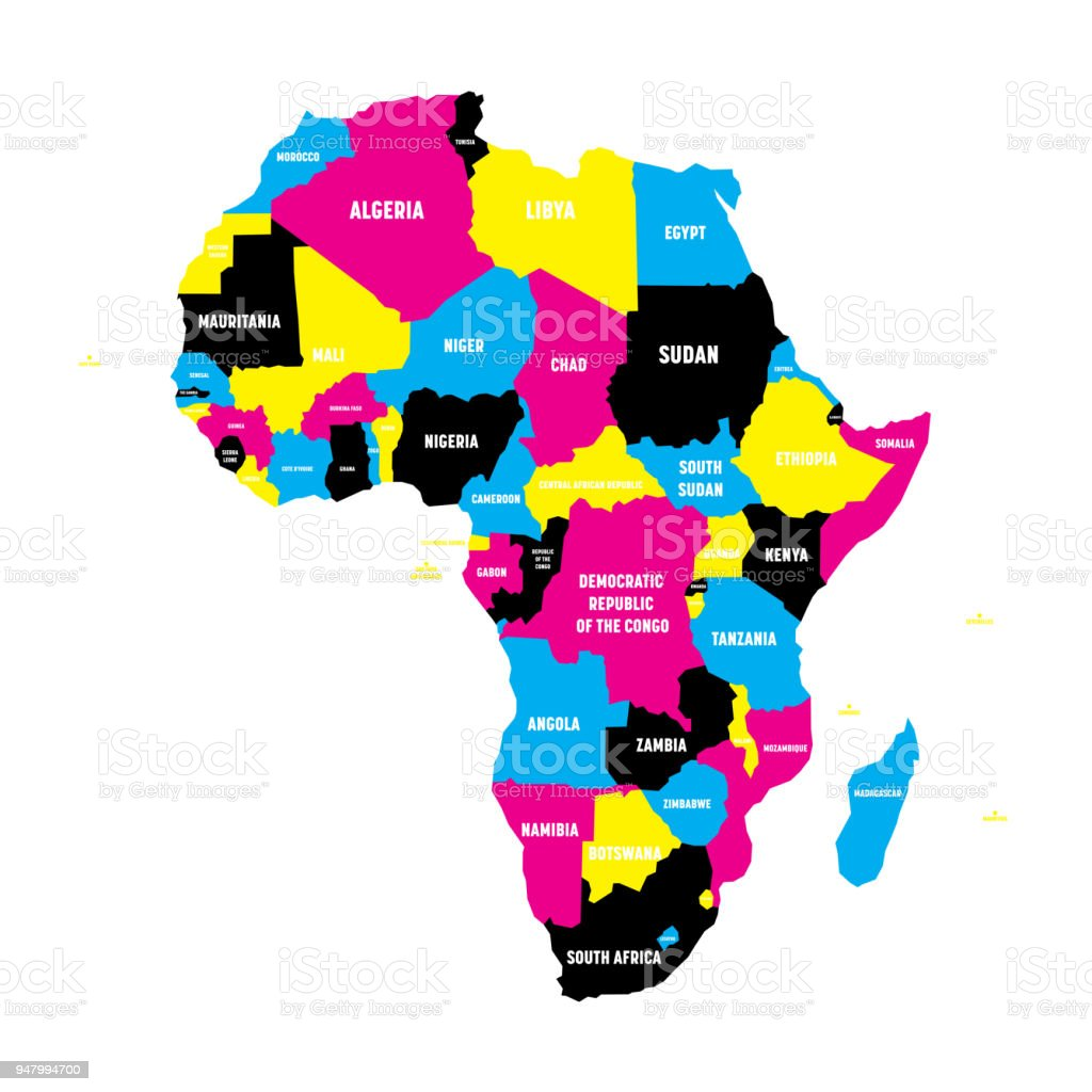 Political Map Of Africa Continent In Cmyk Colors With National