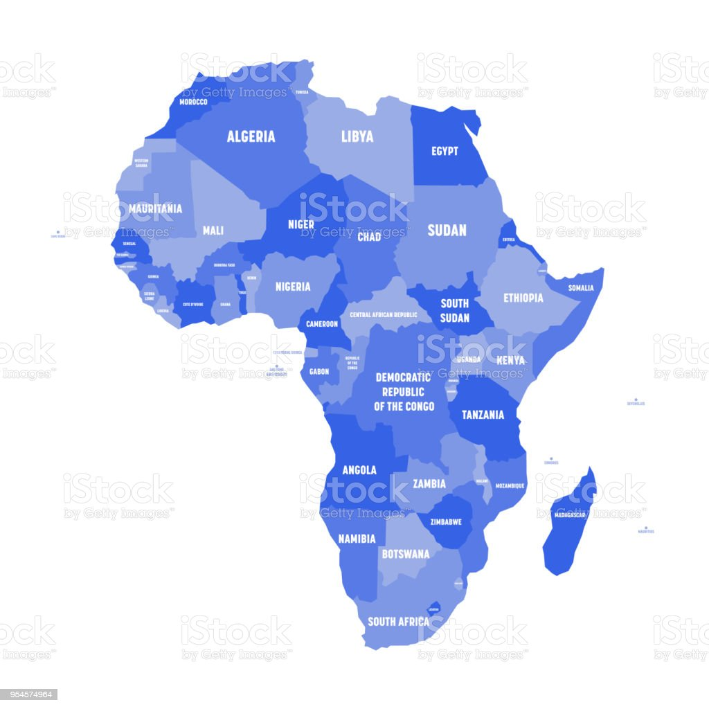 Political Map Of Africa In Four Shades Of Blue With White Country