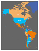 Political map of Americas in foor colors on dark grey background. North and South America with country labels. Simple flat vector illustration