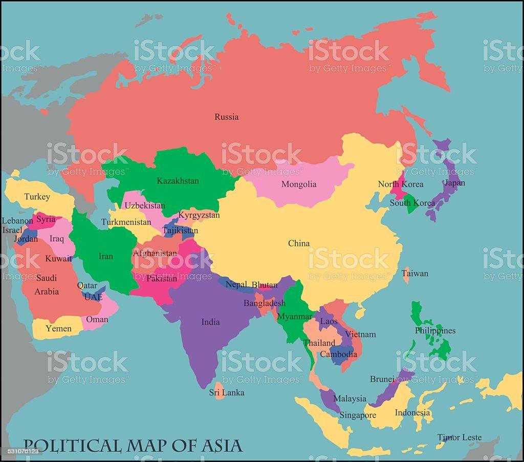 Politische Karte Asien.Politische Karte Von Asien Stock Vektor Art Und Mehr Bilder Von 2015
