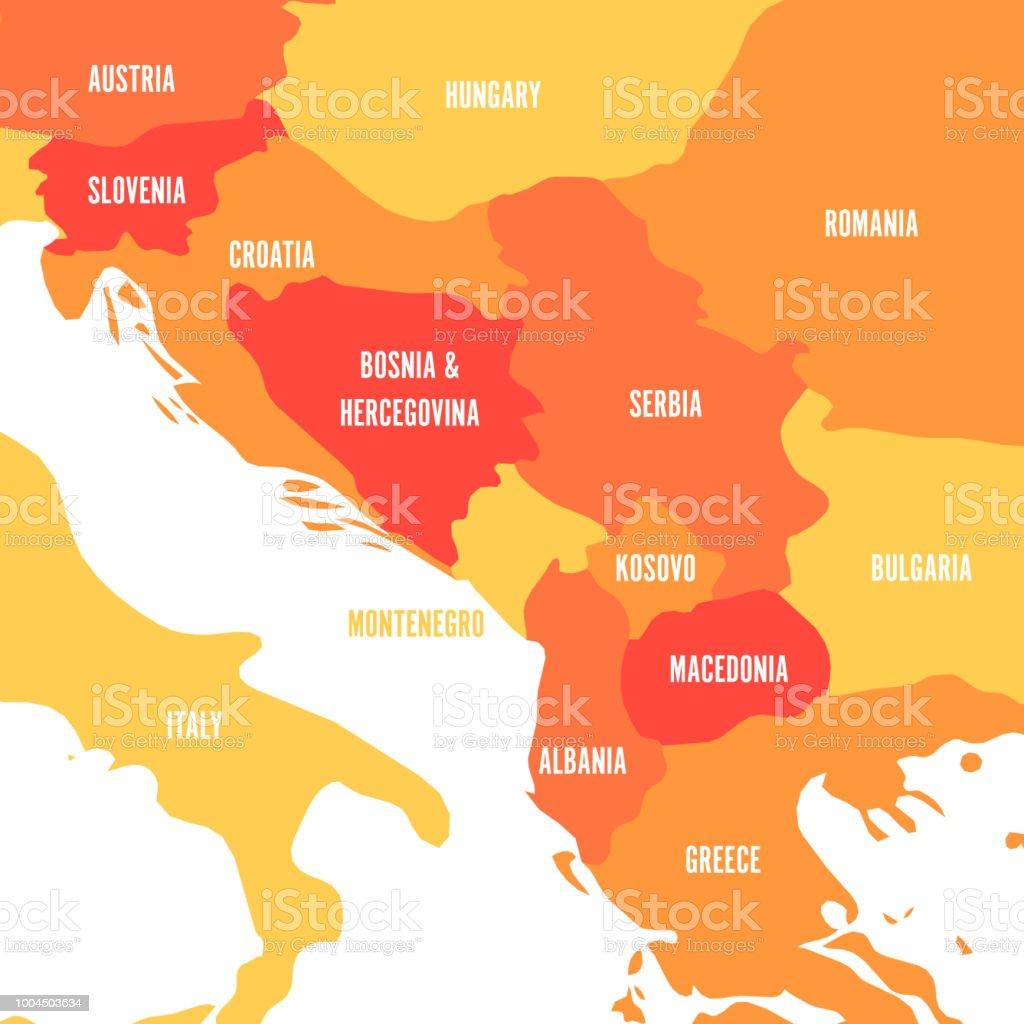 Political Map Of Balkans States Of Balkan Peninsula Four Shades Of ...