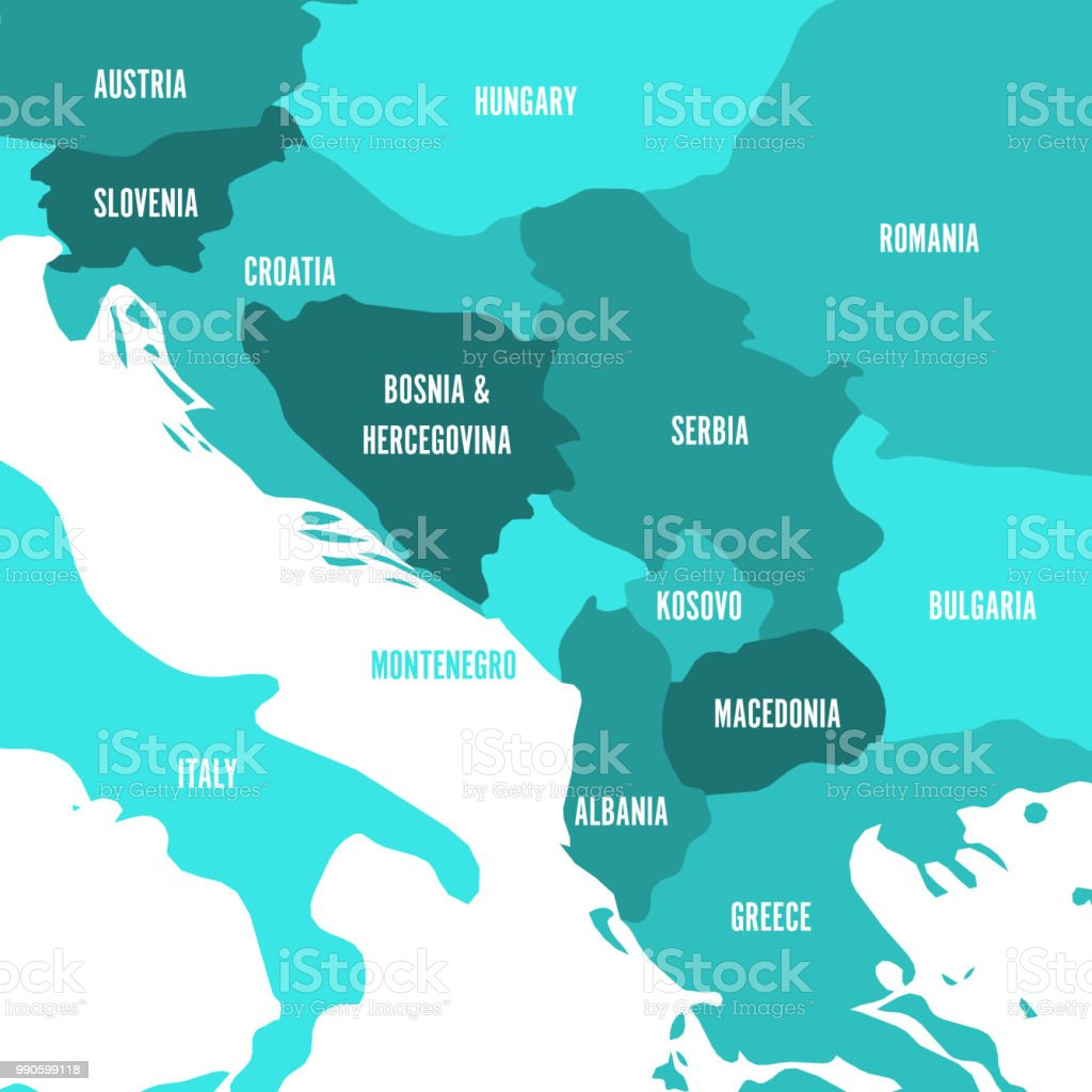 Political map of Balkans - States of Balkan Peninsula. Four shades of turquoise blue vector illustration vector art illustration
