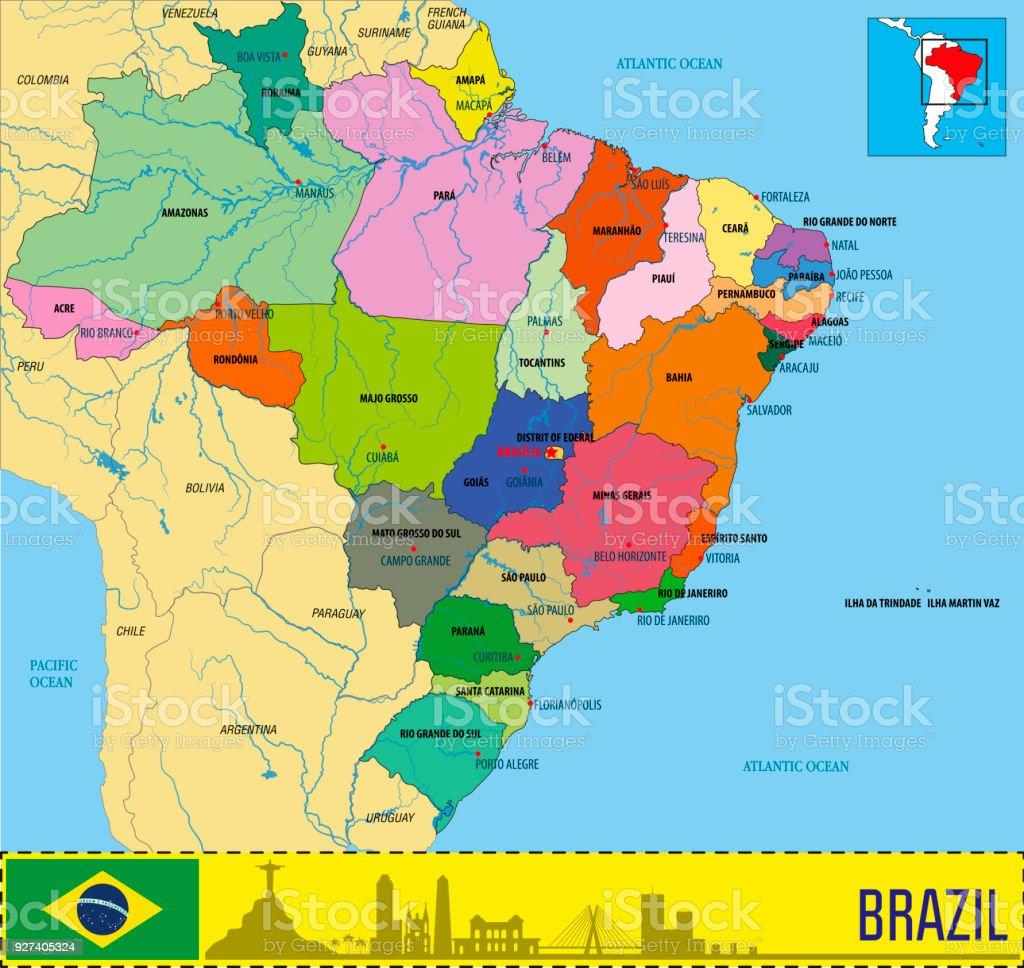 Political map of Brazil vector art illustration