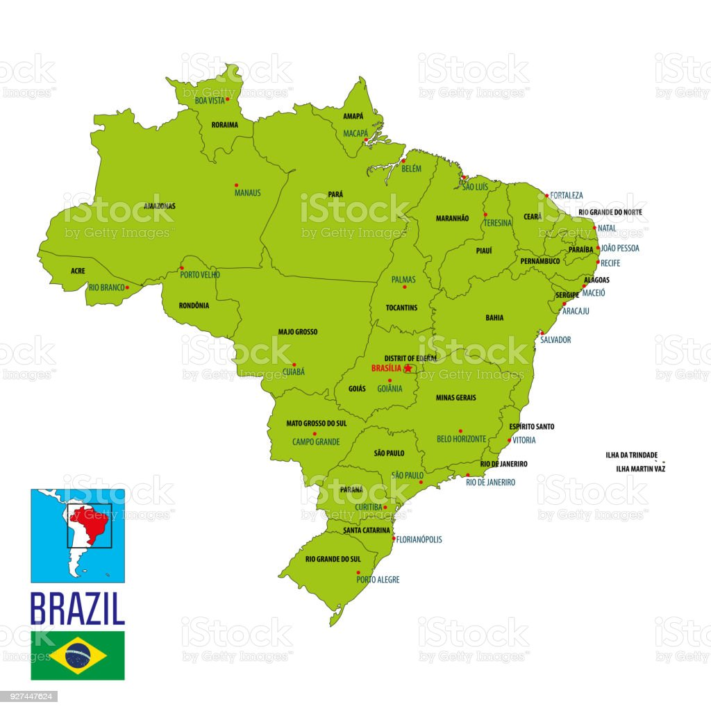 Political Map Of Brazil Stock Illustration - Download Image ...
