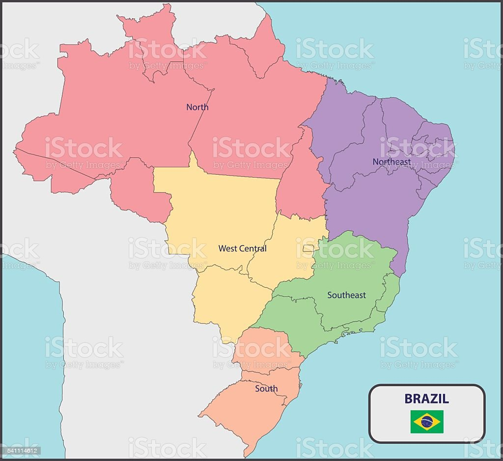 Political Map of Brazil with Names vector art illustration