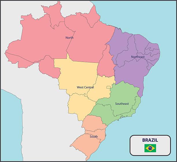 ilustrações, clipart, desenhos animados e ícones de mapa político do brasil com nomes - brazil map