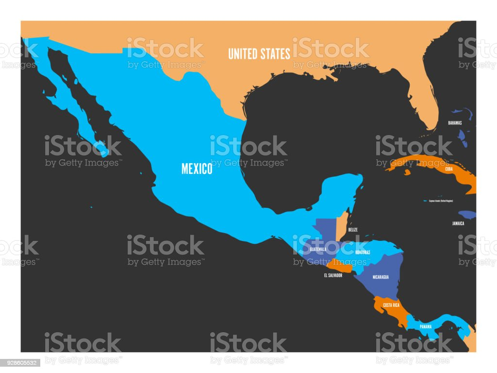 Political Map Of Central America And Mexico In Four Colors ...