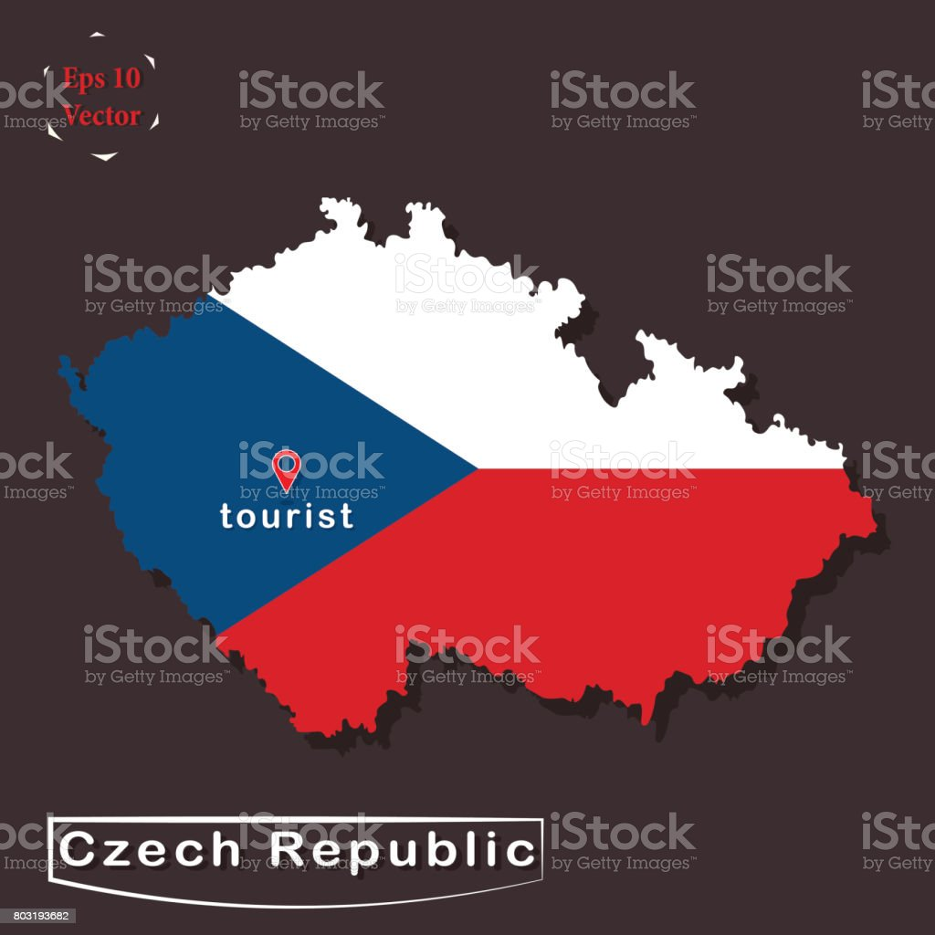 Political map of czech republic in national flag colours political map of czech republic in national flag colours representation flat design with 3d look gumiabroncs Images