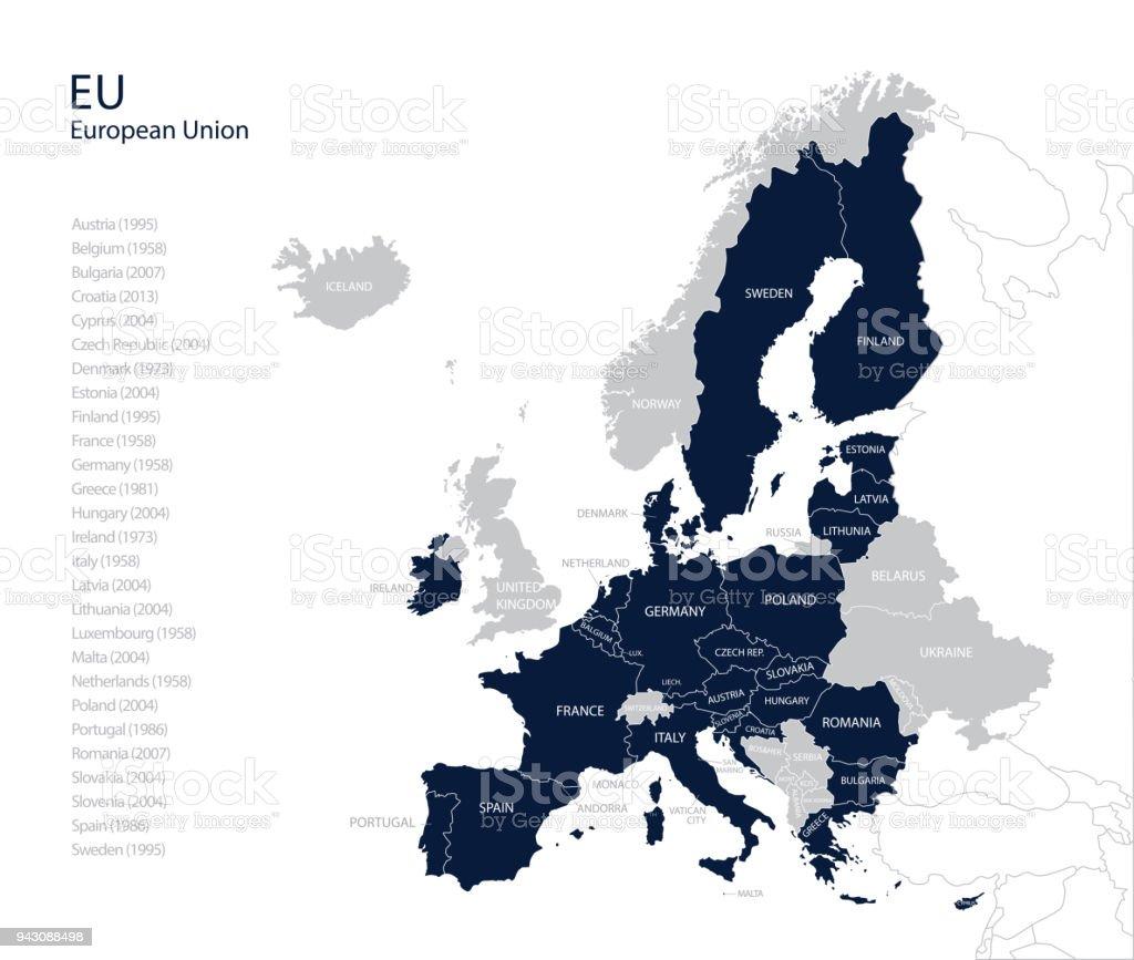Ilustración de Mapa Político De La Ue Sin El Reino Unido Inglaterra ...