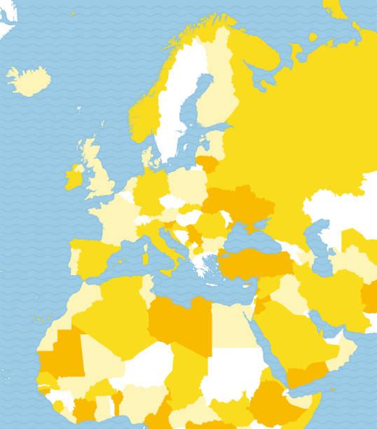 politische karte von europa, afrika und dem nahen osten. politische landkarte mit den grenzen der staaten - südeuropa stock-grafiken, -clipart, -cartoons und -symbole