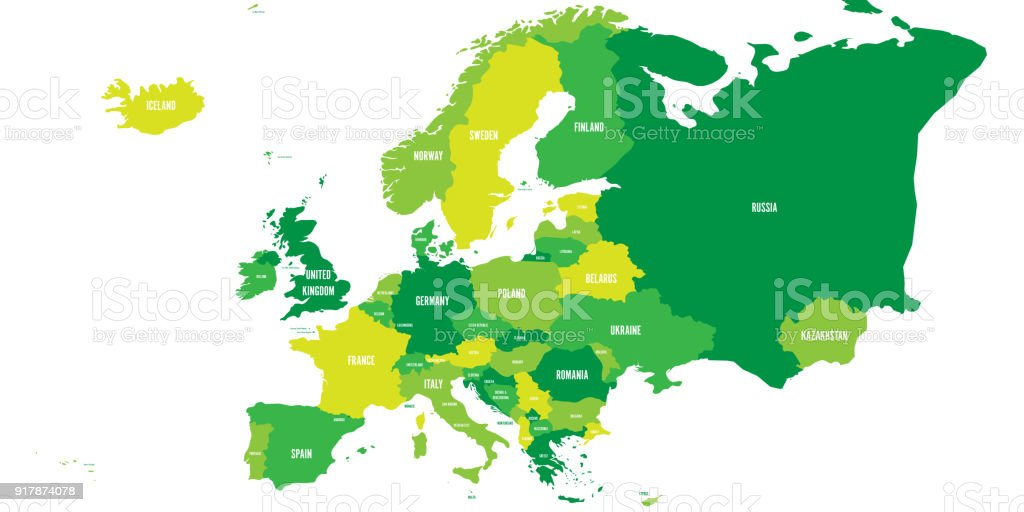Political map of europe continent in four shades of green with white political map of europe continent in four shades of green with white country name labels and gumiabroncs Images