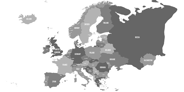 Political map of Europe continent in four shades of grey. With whole european part of Russia and Kazakhstan. Vector illustration