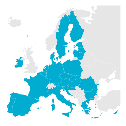 Political map of Europe with blue highlighted 27 European Union, EU, member states after brexit in 2020. Simple flat vector illustration.