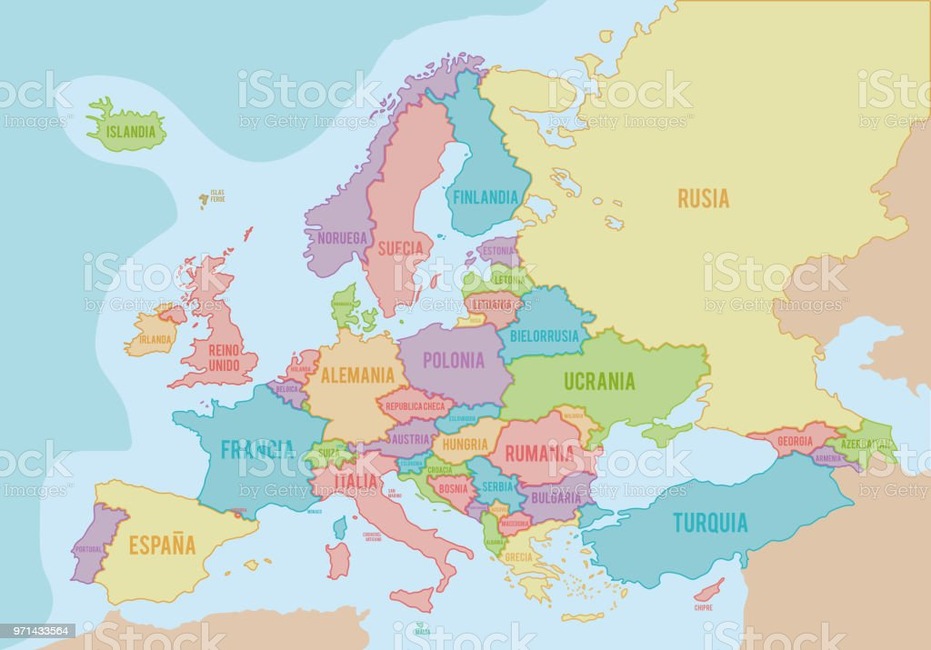 Political Map Of Europe With Colors And Borders For Each Country And ...