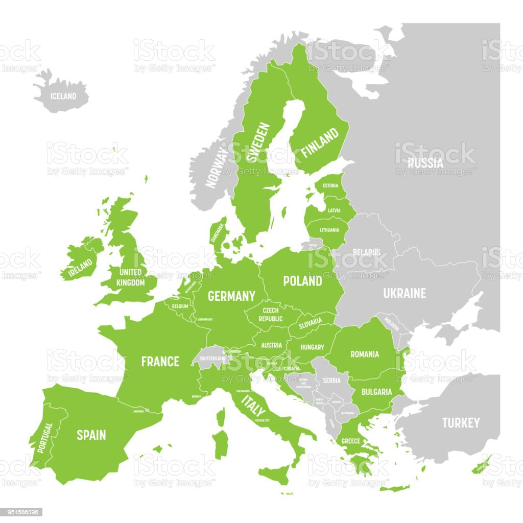 Map Of Europe With Germany Highlighted.Political Map Of Europe With Green Highlighted 28 European Union Eu