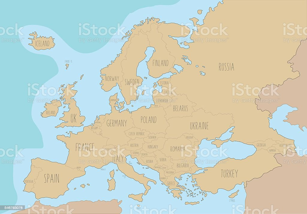 Political Map Of Europe With Names In English Vector ...