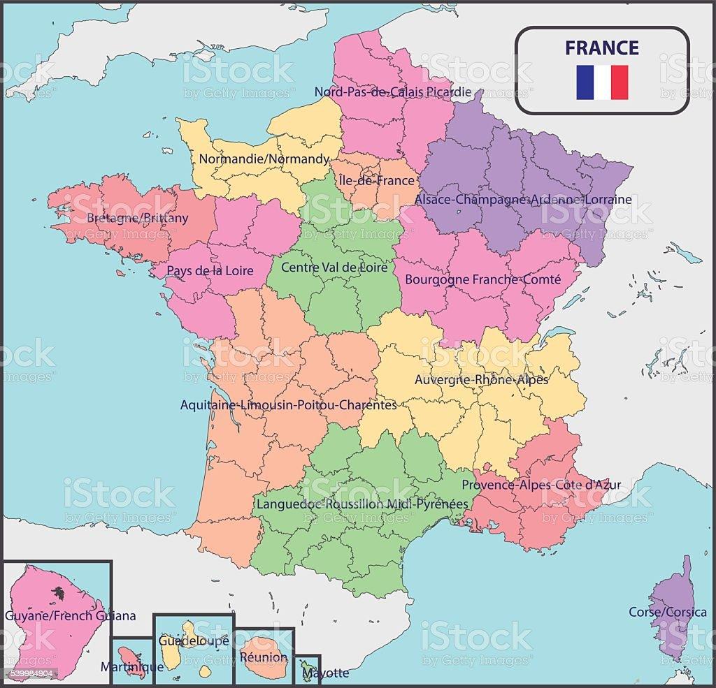 Mapa Politico De Francia 2019.Ilustracion De Mapa Politico De Francia Con Los Nombres Y