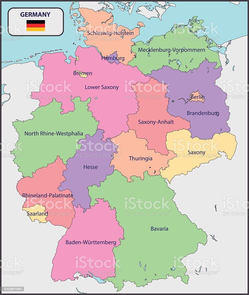 Mapa Politico De Alemania Actual.Ilustracion De Mapa Politico De Alemania Con Nombres Y Mas