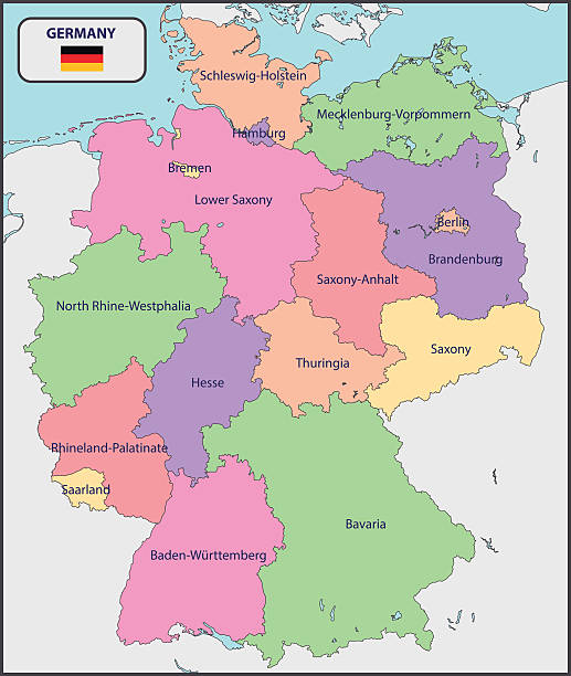 stockillustraties, clipart, cartoons en iconen met political map of germany with names - oost duitsland