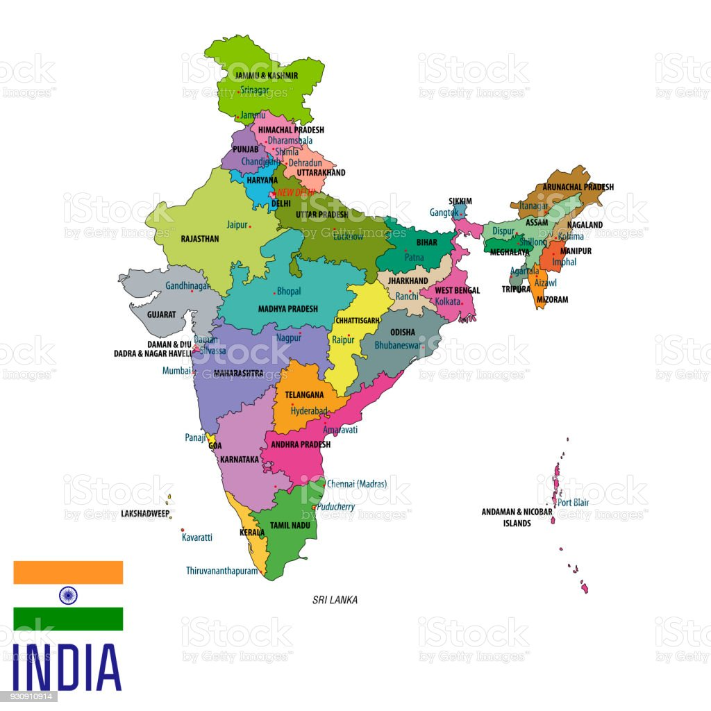 Political Map Of India With All States Stock Vector Art More - A map with all the states