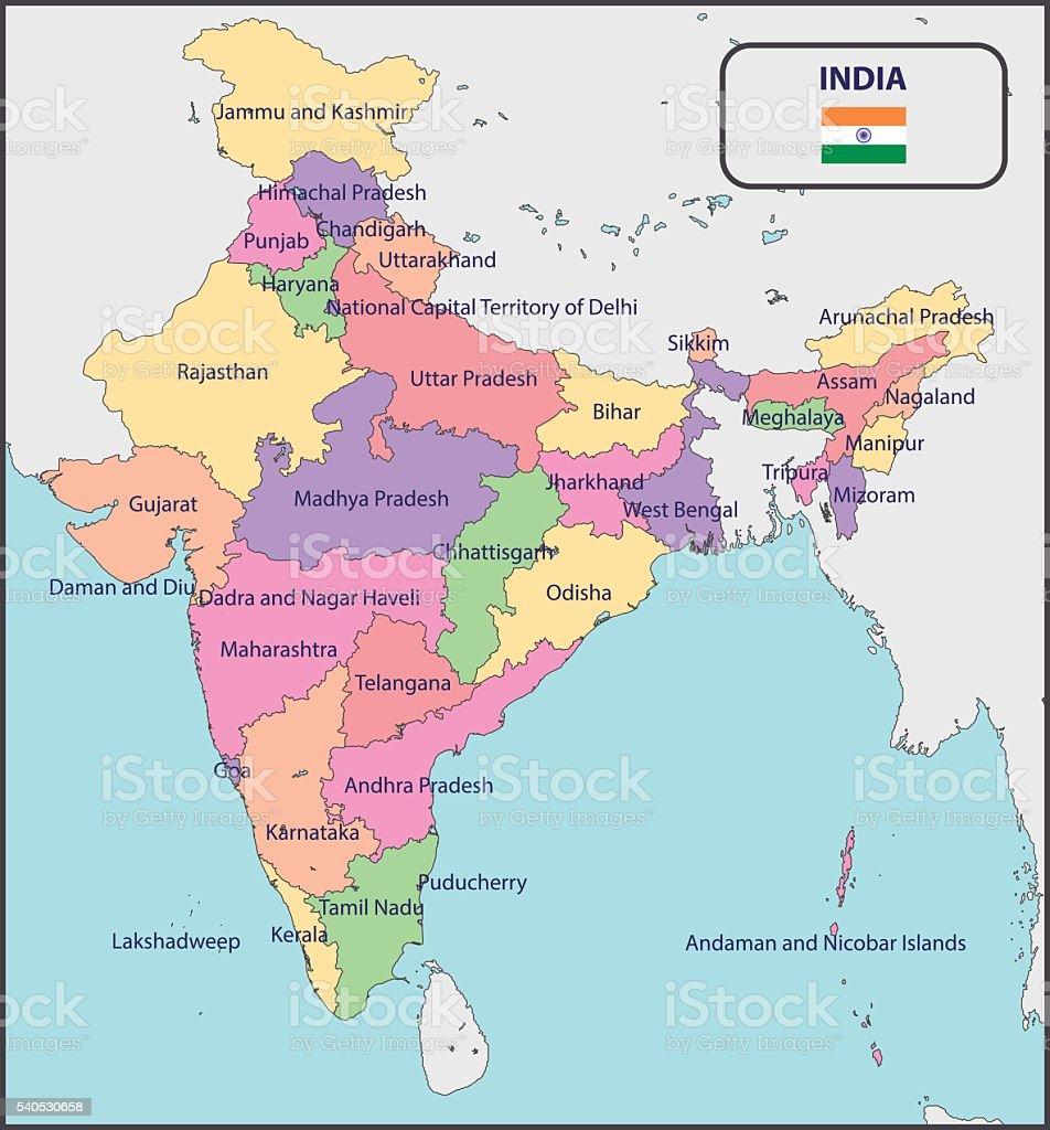 Mapa poltico de la india con los nombres arte vectorial de stock mapa poltico de la india con los nombres mapa poltico de la india con los gumiabroncs Images