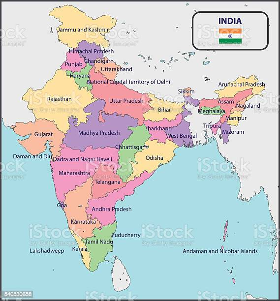 India Politica Cartina.Political Map Of India With Names Stock Illustration Download Image Now Istock