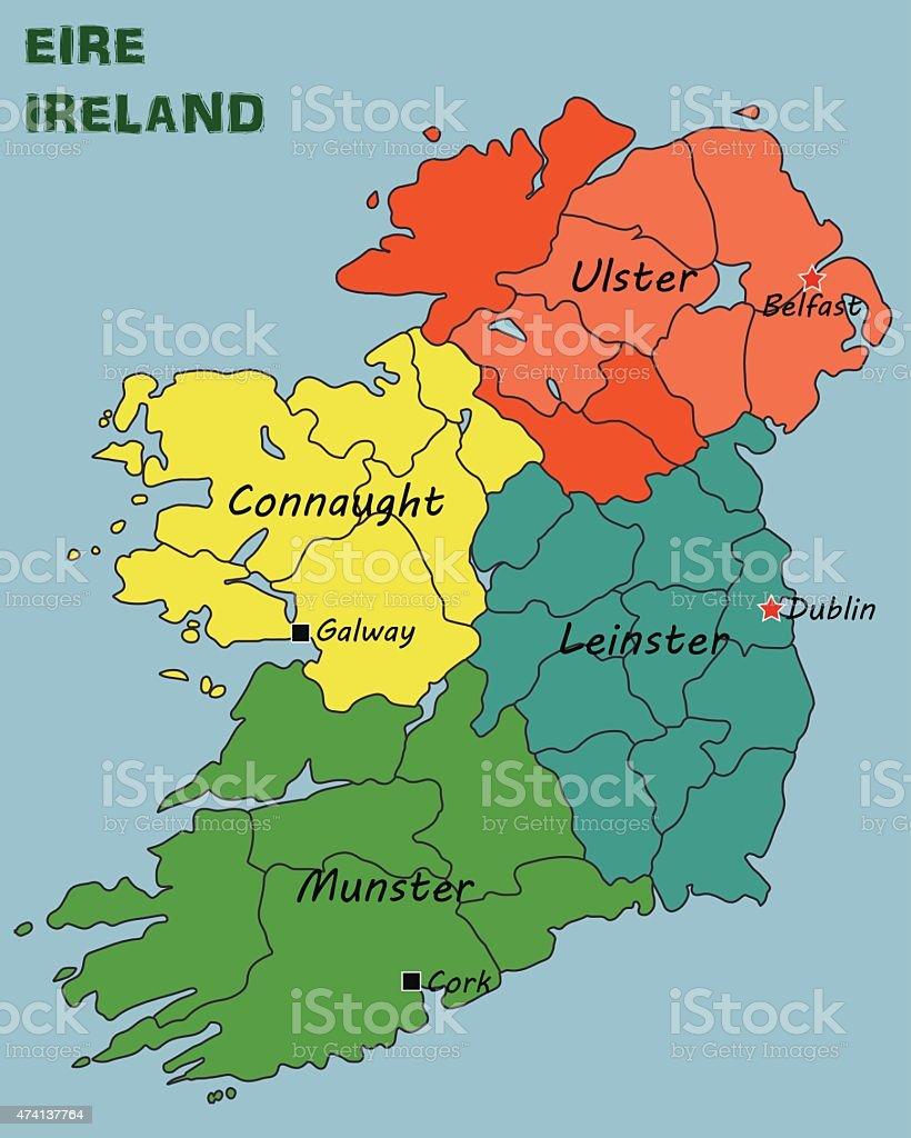 political map of ireland stock vector art 474137764 istock