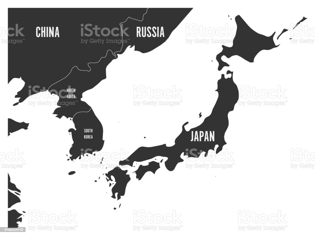 Political map of korean and japanese region south korea north korea political map of korean and japanese region south korea north korea and japan gumiabroncs Gallery