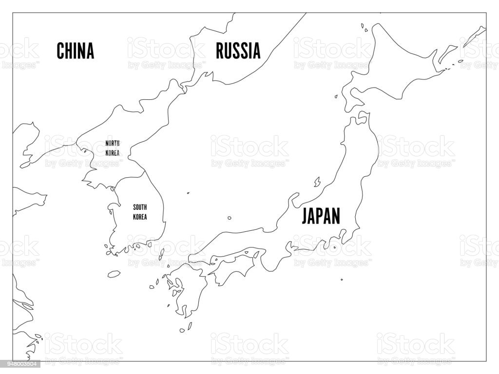 Outline Map Of Asia Labeled.Political Map Of Korean And Japanese Region South Korea North Korea