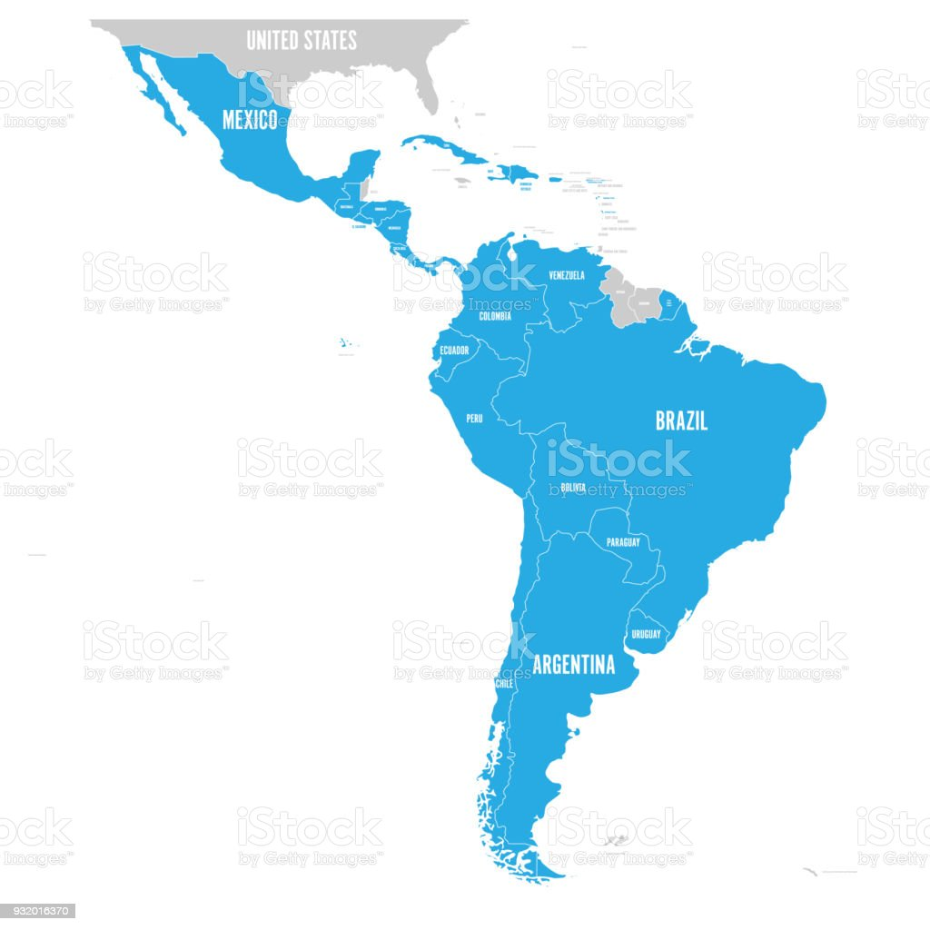 Political map of Latin America. Latin american states blue highlighted in the map of South America, Central America and Caribbean. Vector illustration vector art illustration