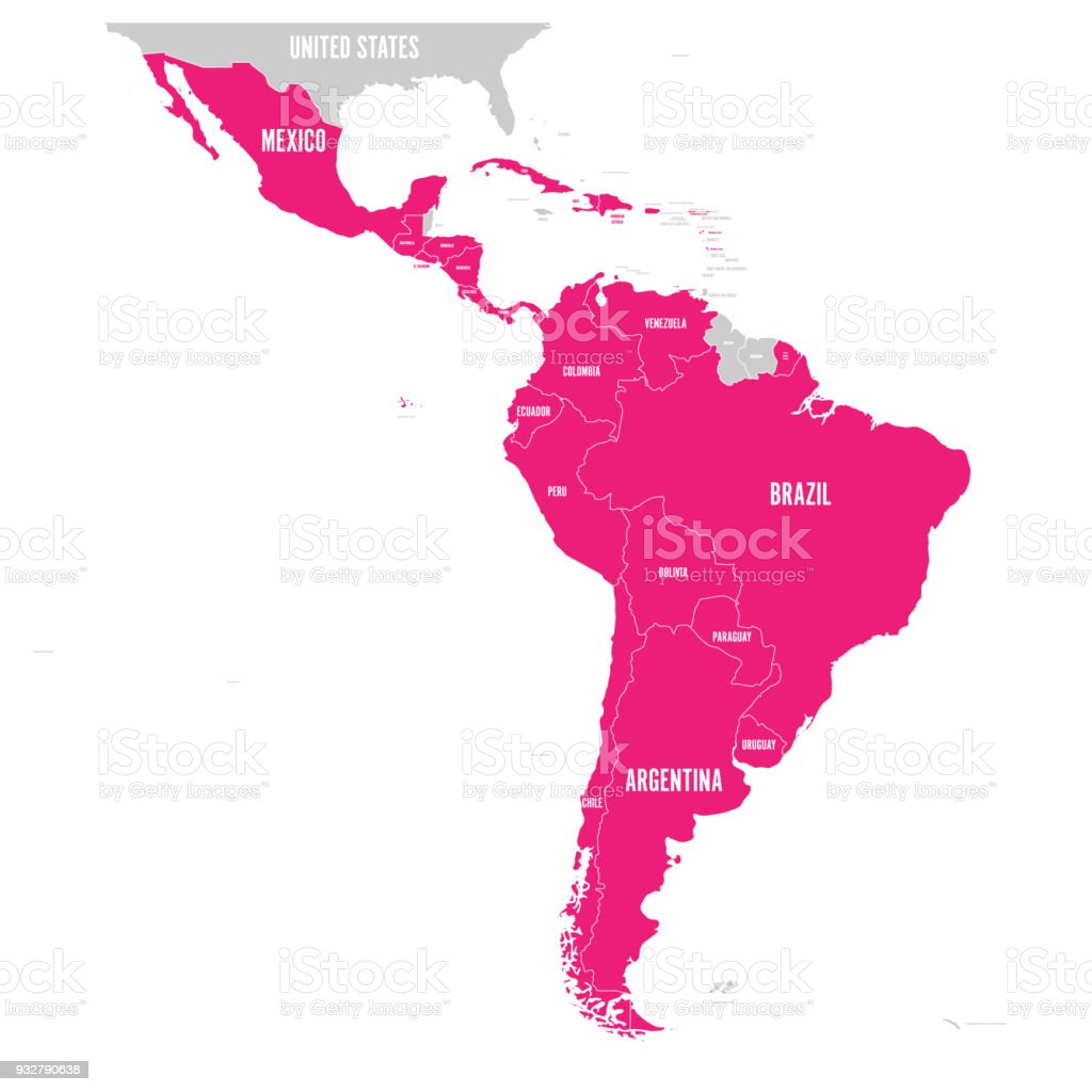 Political map of latin america latin american states pink political map of latin america latin american states pink highlighted in the map of south gumiabroncs Images