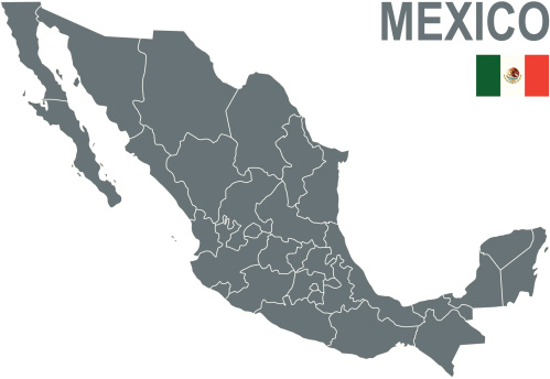 Political map of Mexico with Mexican flag in the top corner