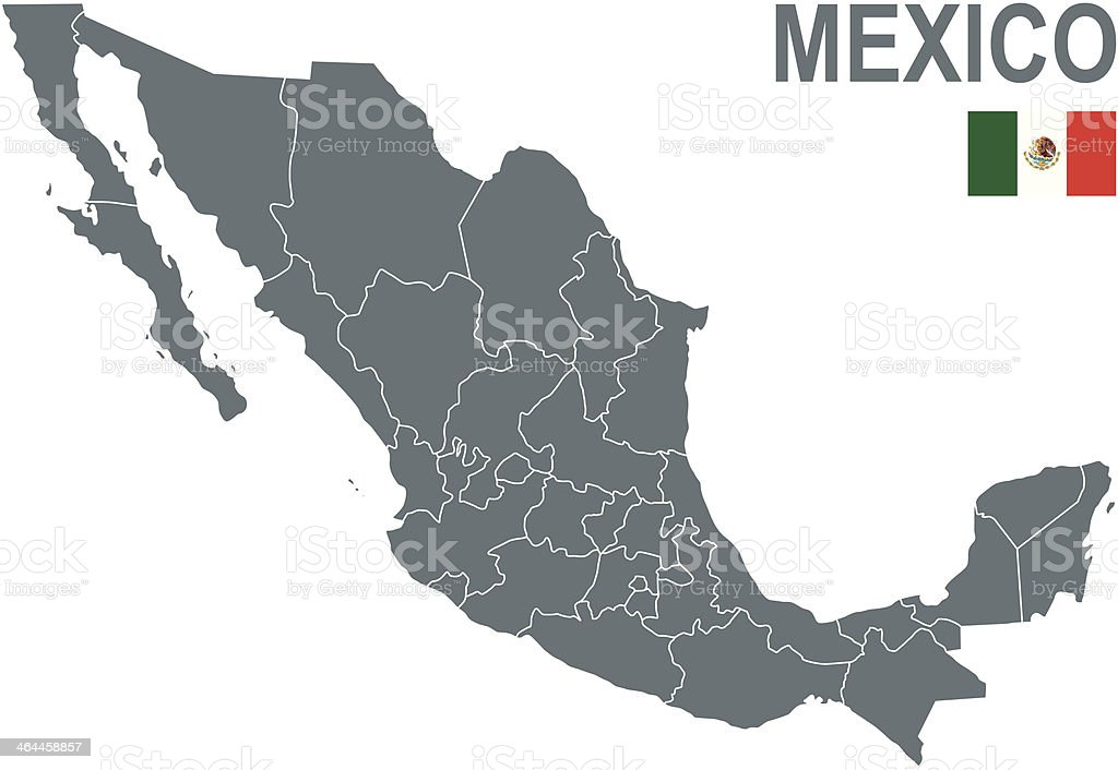 Political map of Mexico with Mexican flag in the top corner vector art illustration