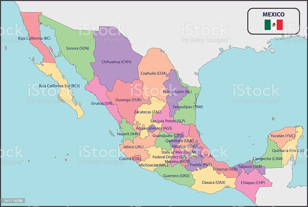 Political Map Of Mexico With Names Stock Vector Art More Images of